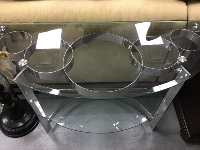 Glass and Metal Circles Consoles