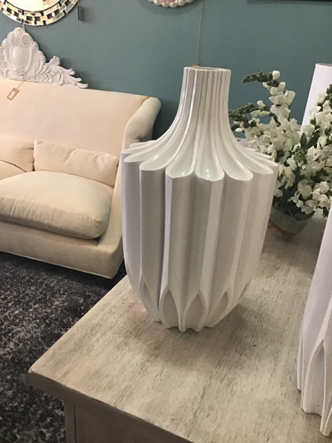 White Resin Narrow Vase
