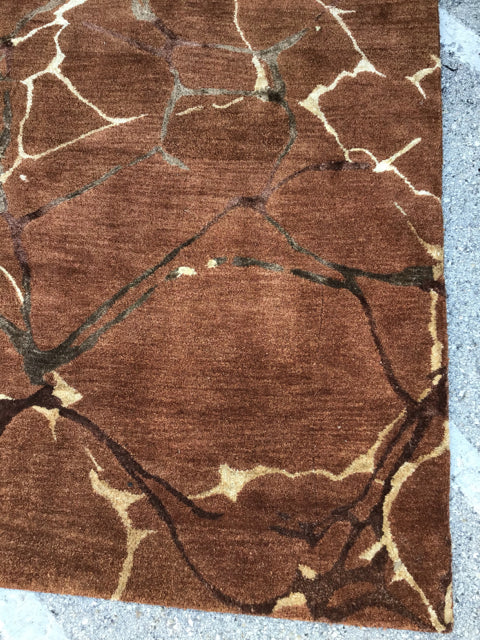 8x5 Brown Rust Area Rug
