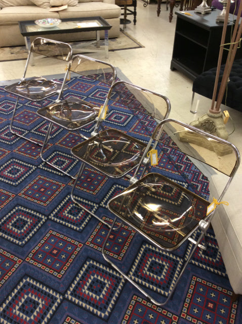 Set Of 4 Mid Century Castelli Lucite Folding Chairs (2 available)