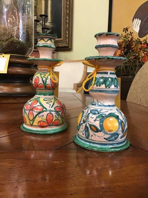 Pair of Round Hand Painted Candle Holder