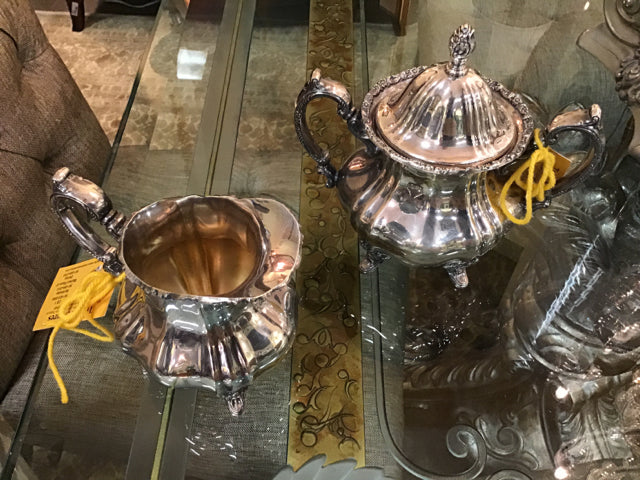 Silver Sugar and Creamer Pots