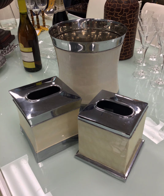 Waste Basket with 2 Tissue Boxes