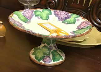 Fitz & Floyd Cake Stand With Grapes Home Accent