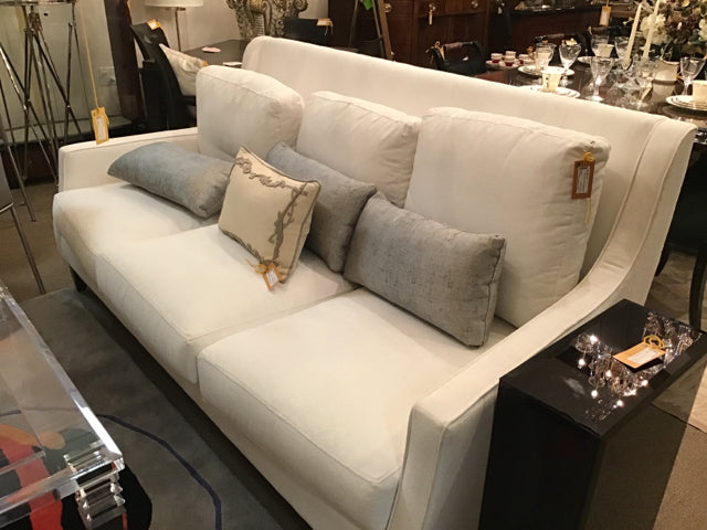 Sherril White Living Room Sofa With Gray Pillows