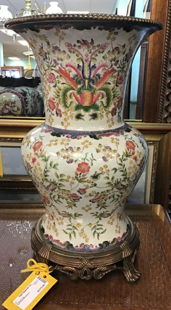 Antique White And  Floral Vase