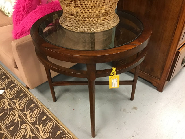 Round Glass Top Accent Table With Dark Wood Base