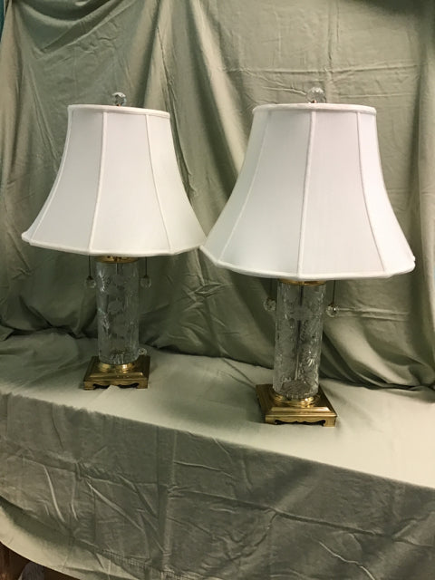 Pair Of Dresden Crystal Lamps