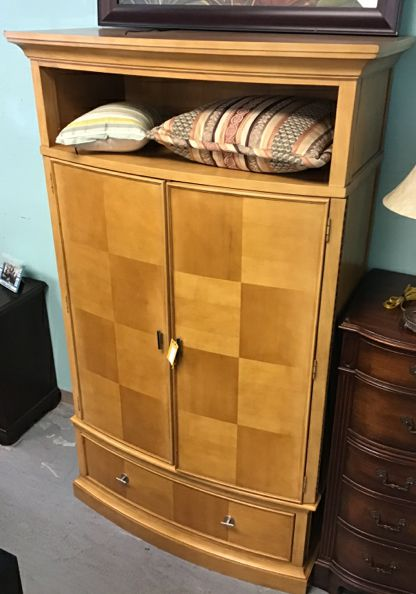 Light Wood Armoire With Top Storage & Silver Pulls