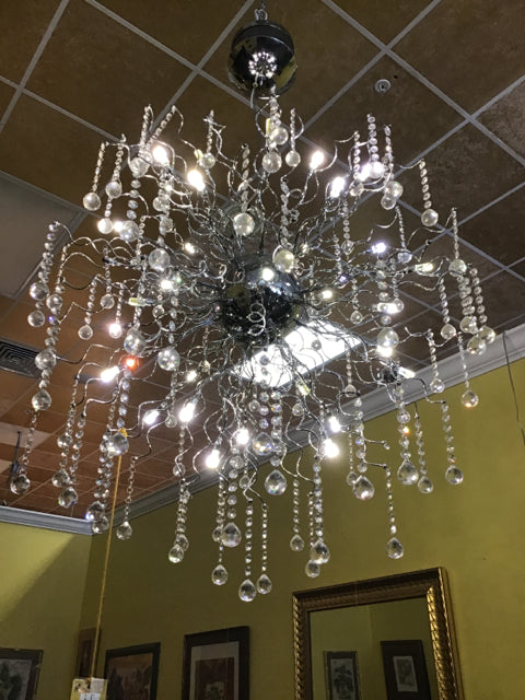 Chrome Chandelier With Haning Crystals