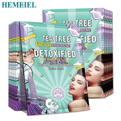 HEMEIEL Tea Tree detox korean Face Mask Anti Acne Blackhead Moisturizing Oil Control Facial Mask Sheet Skin Care 3pcs