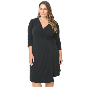 Faux Wrap Dress with 3/4 Sleeves