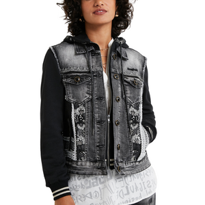 Mixed Fabric Hooded Denim Jacket