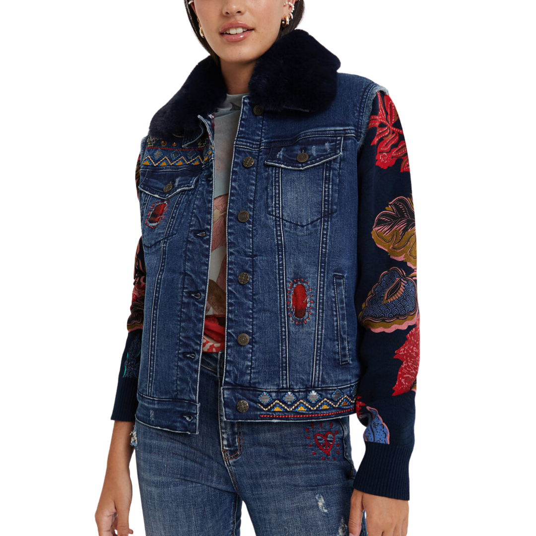 Removable Collar Mixed Fabric Denim Jacket - Desigual.