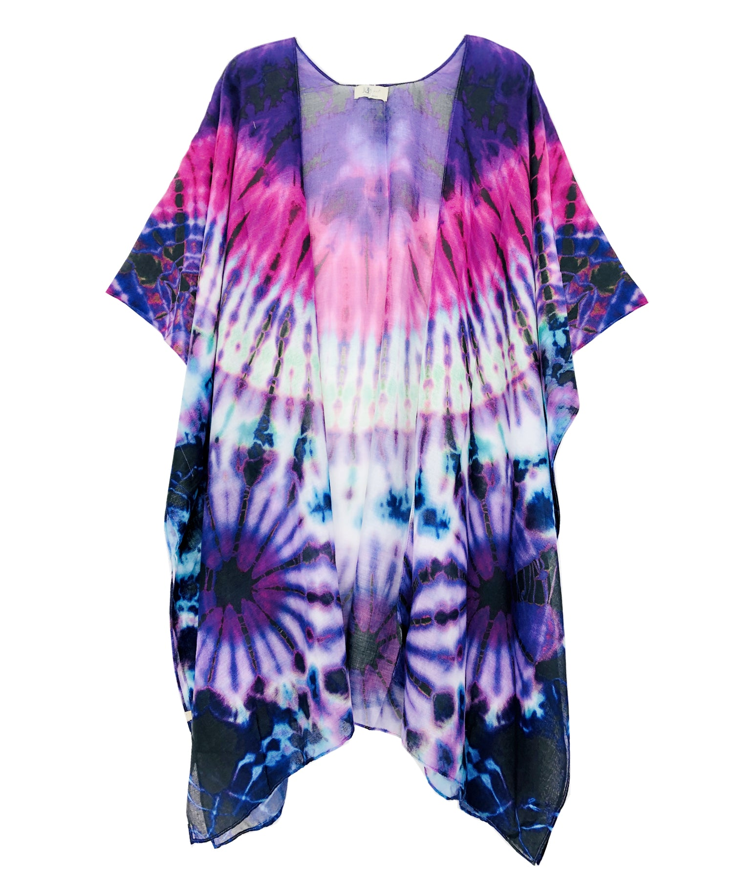 Multi Tie Dye Kimono - Purple at {price}