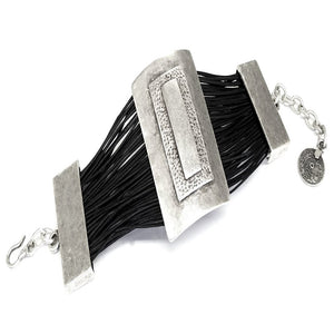 Leather & Pewter Rectangular Disc Bracelet