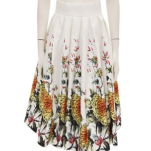 Oriental Printed Gathered Skirt