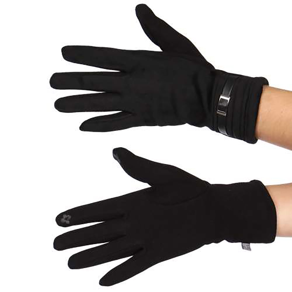 Buckle Faux Suede Gloves
