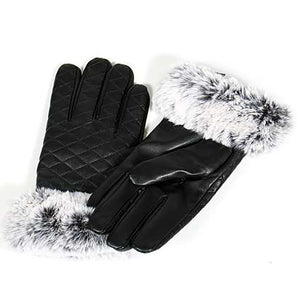 Quilted faux leather touch screen gloves