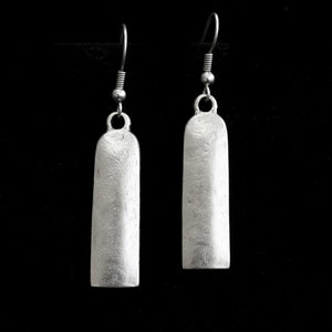 Pewter Bohemian Flat Slab Earrings II