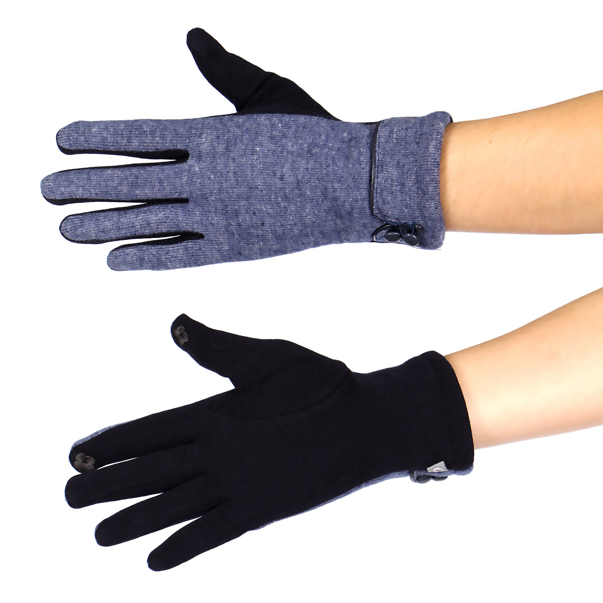 Double Button Touch Gloves