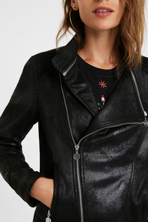 Slim Biker Jacket w/ Embroidery - Black