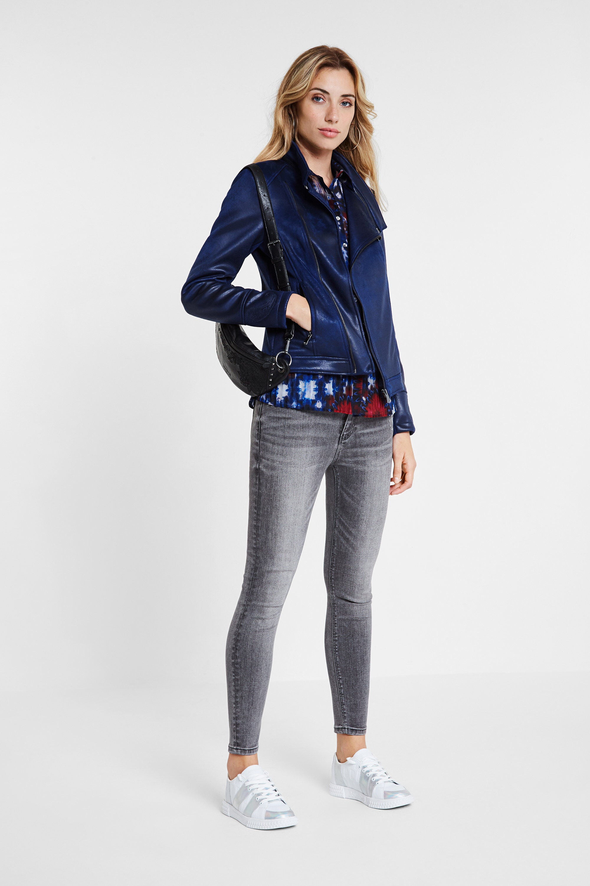 Slim Biker Jacket w/ Embroidery - Jean