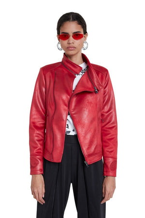 Slim Biker Jacket w/ Embroidery - Red