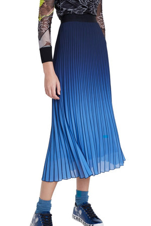Midi Skirt Flared Pleated - Elastic Waist