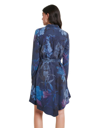 Blue Floral Shirt Collar Dress