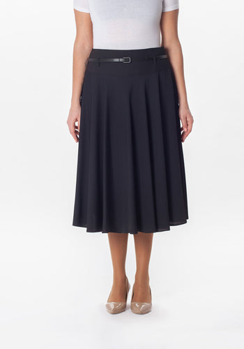 Flare Skirt with Deep Waistband and Belt - Black - Plus Sizes