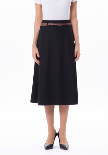Flare Skirt with Deep Waistband and Belt - Black
