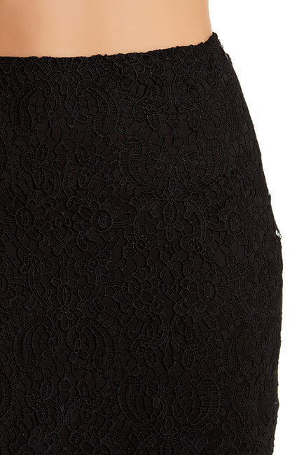 Crochet Lace Skirt - Black at {price}