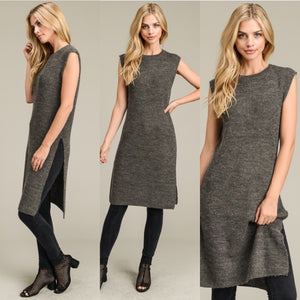 Sleeveless Long Sweater Tunic at {price}