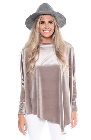 Asymmetrical Velour Top at {price}