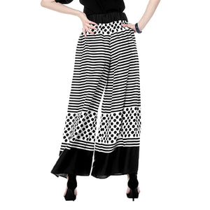 Gracia Stripe and Polka Dot Navy Pants