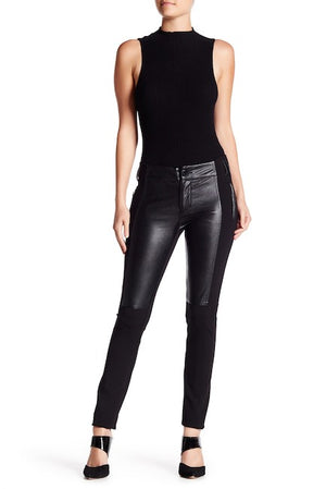 Faux Leather Front Pants at {price}