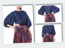 Load image into Gallery viewer, Gracia Puff Sleeve Denim Top