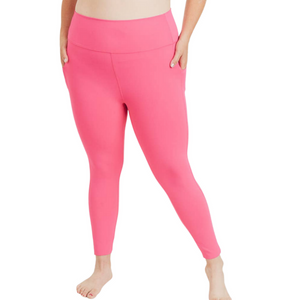 PLUS Laser-Cut Highwaist Leggings - Fuschia