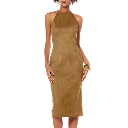 Faux Suede Halter Dress at {price}