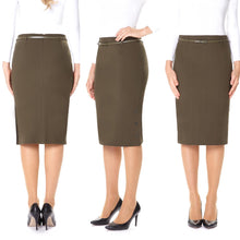 Load image into Gallery viewer, Guzella Pencil Skirt - Knee Length - Green
