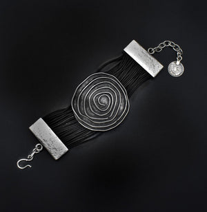Leather & Pewter Bracelet with Detailed Circle Disc
