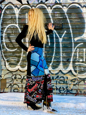 Denim Sequin Mixed Scribble Zip Off Skirt