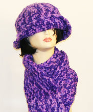 Load image into Gallery viewer, Queen Purple Gold Multi Hat & Scarf