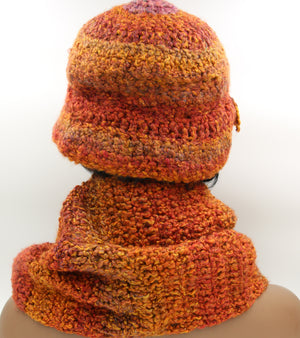 Queen Orange Multi-colored Hat & Infinity Scarf at {price}