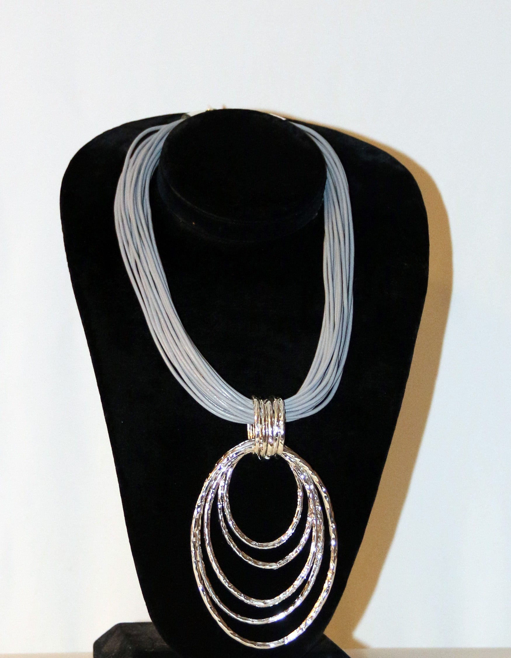 Silver Oblong Pendant Necklace with Grey Strands