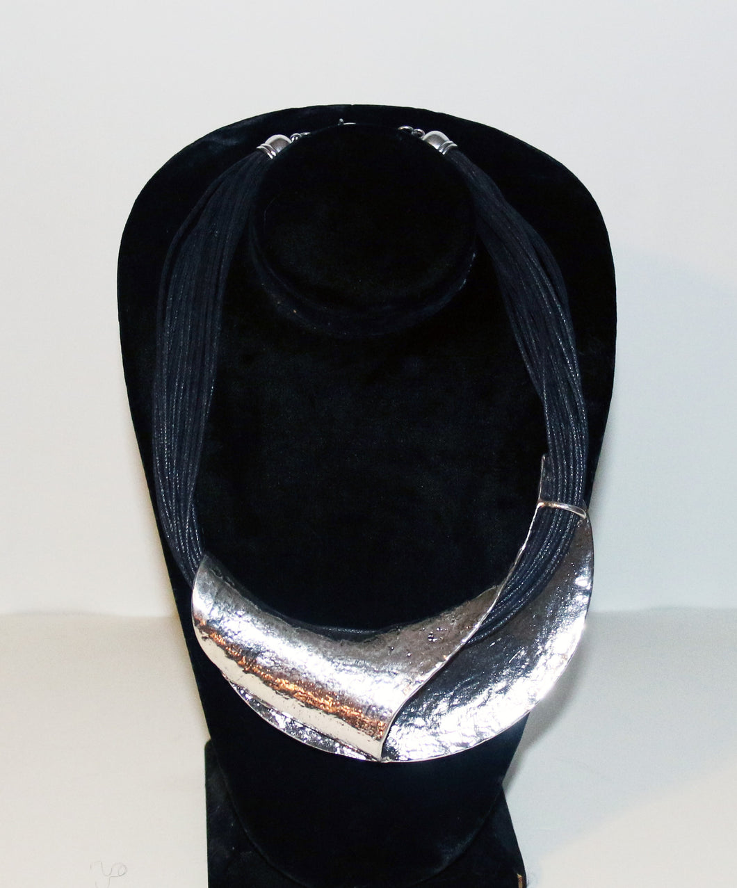A Touch of Style Silver & Black Choker on Multi-strand rope
