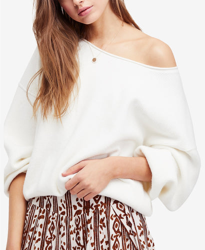 Free People Shadow Crew Blouson Sleeve Sweater - Ivory
