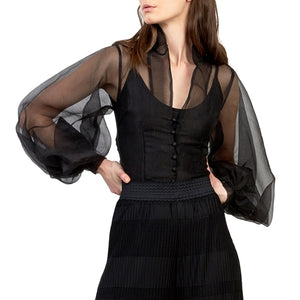 Organza Blouse with Side Slit at {price}