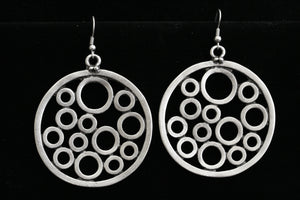 Antique Silver Pewter Circles Earrings at {price}